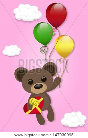 the Teddy bear flies on balloons with a gift