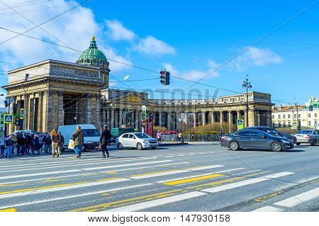 SAINT PETERSBURG RUSSIA - APRIL 25 2015: The view on the Cathedral of Our Lady of Kazan located on the crowded Nevsky Prospect on April 25 in Saint Petersburg.