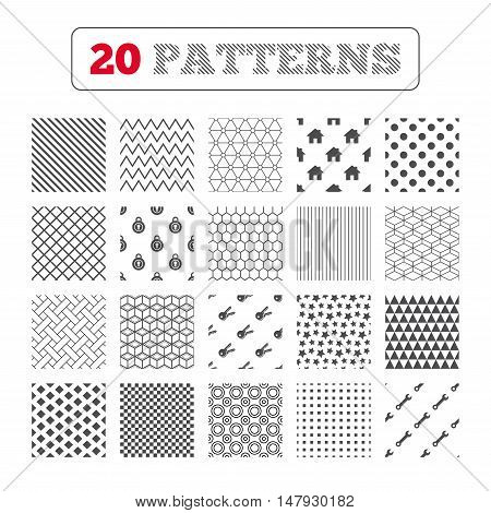 Ornament patterns, diagonal stripes and stars. Home key icon. Wrench service tool symbol. Locker sign. Main page web navigation. Geometric textures. Vector