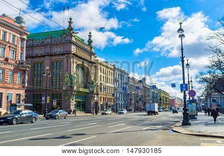 SAINT PETERSBURG RUSSIA - APRIL 25 2015: The Nikolay Akimov Comedy Theatre located in former merchants' mansion at Nevsky Prospect on April 25 in Saint Petersburg.