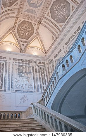 CATANIA ITALY - OCTOBER 10 2012: The decorated interior of the Benedictine Friary nowadays hosting the Humanities Department of University on October 10 in Catania.