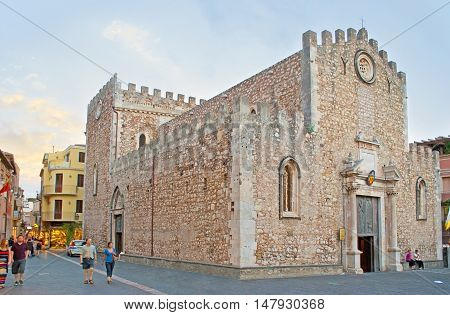 TAORMINA ITALY - OCTOBER 1 2012: The Cathedral dedicated to St Nicholas of Bari located in Duomo Square adjacent to Corso Umberto - central tourist promenade on October 1 in Taormina.