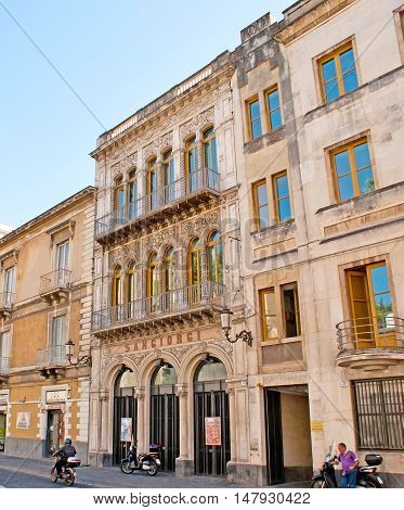 CATANIA ITALY - OCTOBER 10 2012: The Sangiorgi Theatre is one of the numerous city landmarks located in Antonio Sangiuliano street on October 10 in Catania.