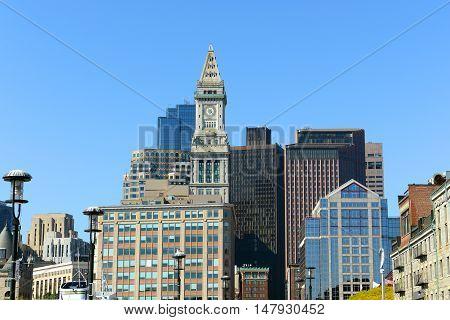 Boston Custom House in Financial District, Boston, Massachusetts, USA