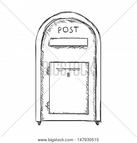 Vector Single Sketch Street Postbox.