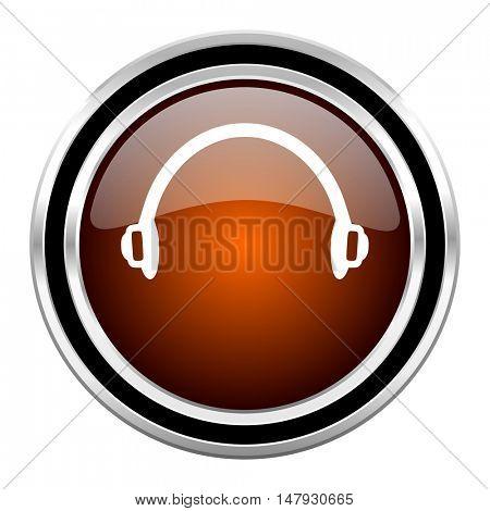 headphones round circle glossy metallic chrome web icon isolated on white background