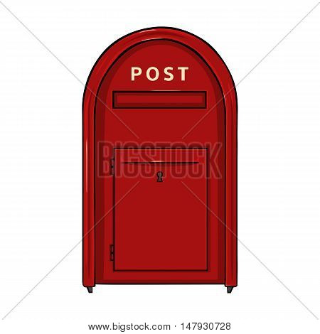 Vector Single Cartoon Red Street Postbox.