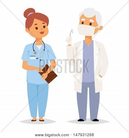 Doctor character vector isolated. Vector illustration of doctor on white background. Flat style doctor character in uniform