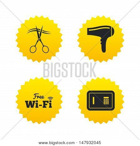 Hotel services icons. Wi-fi, Hairdryer and deposit lock in room signs. Wireless Network. Hairdresser or barbershop symbol. Yellow stars labels with flat icons. Vector