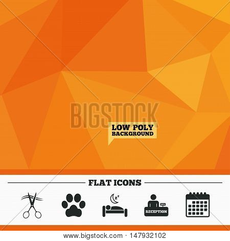 Triangular low poly orange background. Hotel services icons. With pets allowed in room signs. Hairdresser or barbershop symbol. Reception registration table. Quiet sleep. Calendar flat icon. Vector