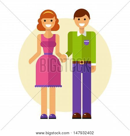 Flat design vector illustration of funny smiling couple in love. Happy young man in casual clothes and woman in pretty dress are holding hands. Dating and relationship concept.
