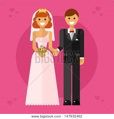 Flat design vector illustration of happy wedding couple or newlyweds. Smiling bride in tiara with bridal bouquet and groom in bow tie are holding hands. Love and marriage concept.