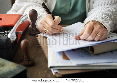Woman Signing Contract Documents Signature Concept