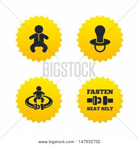 Baby infants icons. Toddler boy with diapers symbol. Fasten seat belt signs. Child pacifier and pram stroller. Yellow stars labels with flat icons. Vector