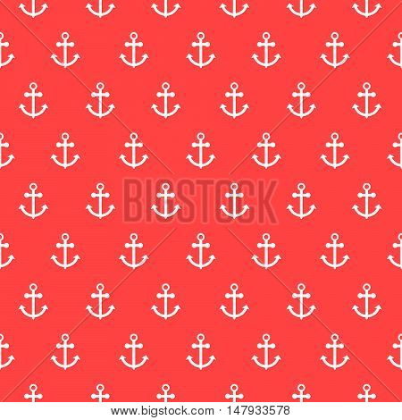 Seamless vector pattern with nautical anchors. Sea theme anchor red with white repeat background.