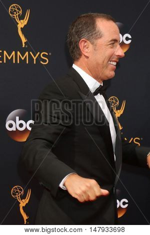 LOS ANGELES - SEP 18:  Jerry Seinfeld at the 2016 Primetime Emmy Awards - Arrivals at the Microsoft Theater on September 18, 2016 in Los Angeles, CA