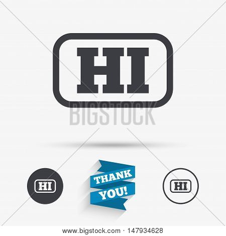 Hindi language sign icon. HI India translation symbol with frame. Flat icons. Buttons with icons. Thank you ribbon. Vector