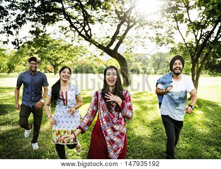 Indian Friends Cheerful Park Concept