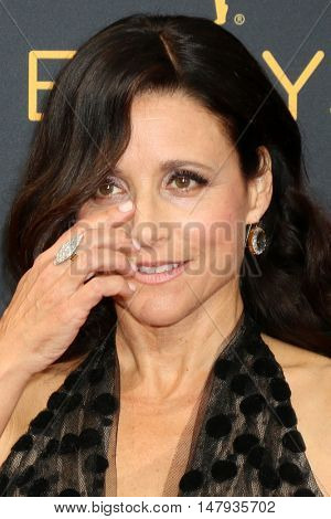 LOS ANGELES - SEP 18:  Julia Louis-Dreyfus at the 2016 Primetime Emmy Awards - Arrivals at the Microsoft Theater on September 18, 2016 in Los Angeles, CA