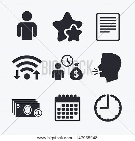 Bank loans icons. Cash money bag symbol. Apply for credit sign. Fill document and get cash money. Wifi internet, favorite stars, calendar and clock. Talking head. Vector
