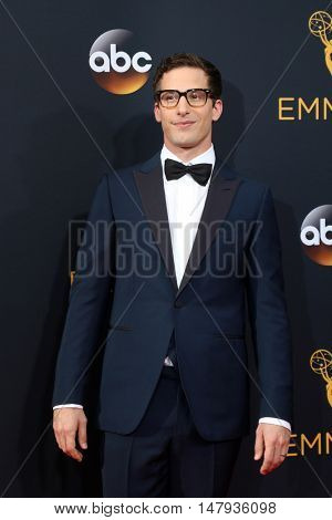 LOS ANGELES - SEP 18:  Andy Samberg at the 2016 Primetime Emmy Awards - Arrivals at the Microsoft Theater on September 18, 2016 in Los Angeles, CA