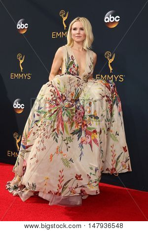 LOS ANGELES - SEP 18:  Kristen Bell at the 2016 Primetime Emmy Awards - Arrivals at the Microsoft Theater on September 18, 2016 in Los Angeles, CA