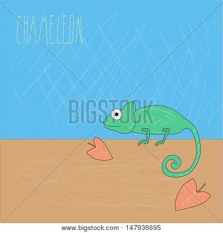 greeting card design with a chameleon. scratched background