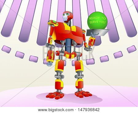 illustration of a droid robot hold metal tray with green ball on modern room background