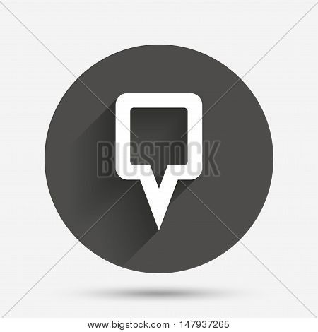 Map pointer sign icon. Location marker symbol. Circle flat button with shadow. Vector