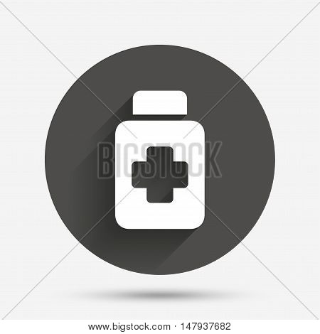 Drugs sign icon. Pack with pills symbol. Circle flat button with shadow. Vector
