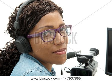 a pretty young African American woman video editor