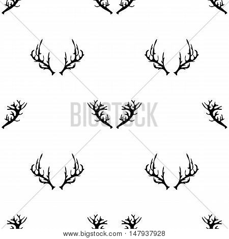 Different Horns Seamless Pattern on White Background