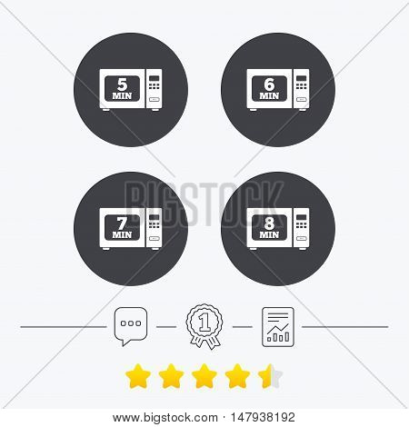 Microwave oven icons. Cook in electric stove symbols. Heat 5, 6, 7 and 8 minutes signs. Chat, award medal and report linear icons. Star vote ranking. Vector