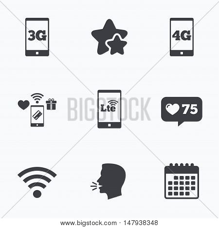 Mobile telecommunications icons. 3G, 4G and LTE technology symbols. Wi-fi Wireless and Long-Term evolution signs. Flat talking head, calendar icons. Stars, like counter icons. Vector