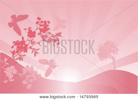 illustration with cherry tree flowers and butterflies silhouettes