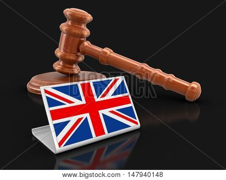 3D Illustration. 3d wooden mallet and British flag. Image with clipping path