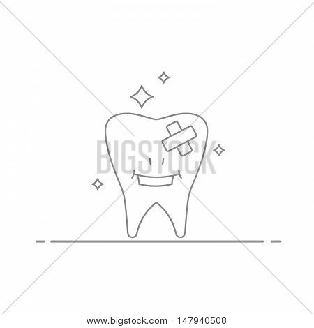 Concept illustration of the treatment and care of teeth . Smiling tooth after a visit to the dentist . Vector illustration made in a linear style isolated on white background