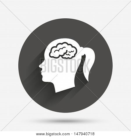 Head with brain sign icon. Female woman human head think symbol. Circle flat button with shadow. Vector