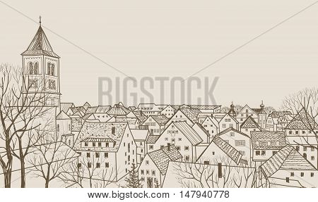 Street cafe in old city. Cityscape - houses buildings and tree on alleyway. Old city view. Medieval european castle landscape. Pencil drawn editable sketch