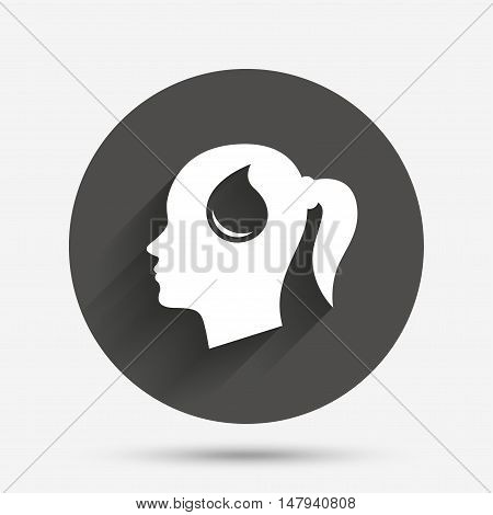 Head with blood drop sign icon. Female woman human head symbol. Circle flat button with shadow. Vector