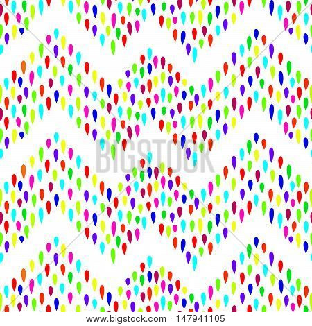 Abstract water drop seamless pattern. Raindrop background. Falling dots zig zag ornament