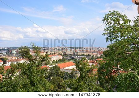 Prague in summer with blue sky and clouds