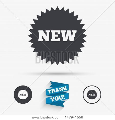 New sign icon. New arrival star symbol. Flat icons. Buttons with icons. Thank you ribbon. Vector