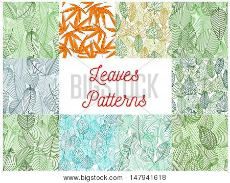 Leaves seamless patterns set with green and yellow foliage background of summer and autumn trees and plants. Nature season and floral design