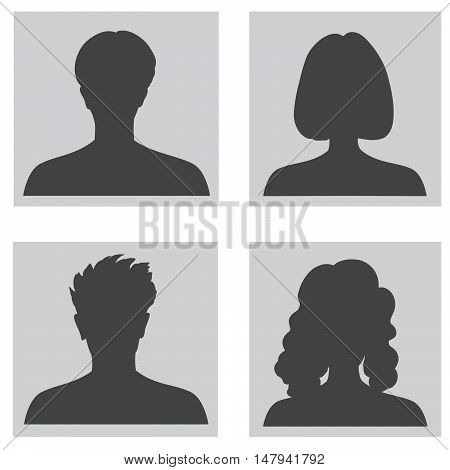 Avatar set. People profile set. Woman and man silhouette. Portraits collection