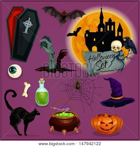 Halloween characters set. Vector cartoon orange pumpkin lantern, witch hat, cauldron potion, haunted castle, zombie graveyard, vampire coffin, skeleton skull, human evil eye