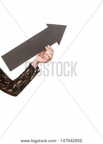 Woman With Arrow Sign Show Right Direction.