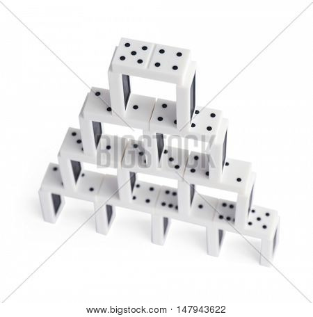 Tower of dominoes, isolated on white