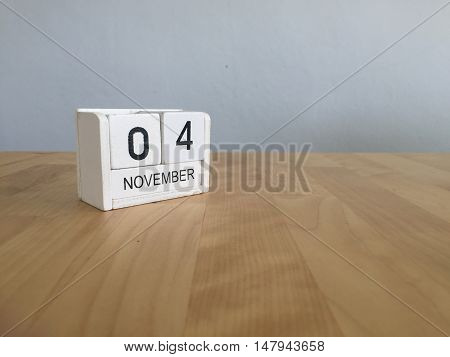 November 4Th. November 4 White Wooden Calendar On Vintage Wood Abstract Background.autumn Day.copysp