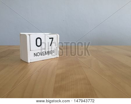 November 7Th. November 7 White Wooden Calendar On Vintage Wood Abstract Background.autumn Day.copysp